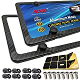 Aootf Carbon Fiber License Plate Frames -4 Holes Black Aluminum License Plate Frames Printing Carbon Fiber Pattern Metal Frame Screw Kits Fine Slim Standard Size for USA Car