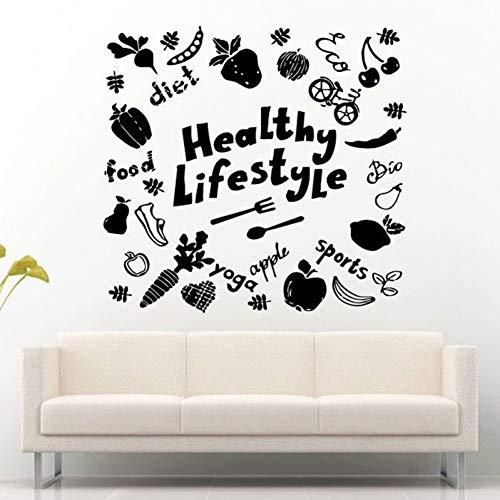 GUDOJK Muursticker Gezond Leven Stijl Voedsel Sport Leven Alle Dingen Vinyl Verwijderbare Muurstickers voor Woonkamer Home Art Decals Poster Sticker