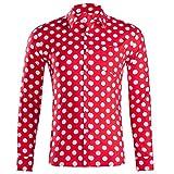 LHWY Camisa de Hombre Tops Shirt 2019 Verano Moda botón Holgado de Manga Larga con Cuello Redondo y Estampado Hawaiano Camiseta Corta Camiseta Gran tamaño Lunares Beach Hawaii Vino L