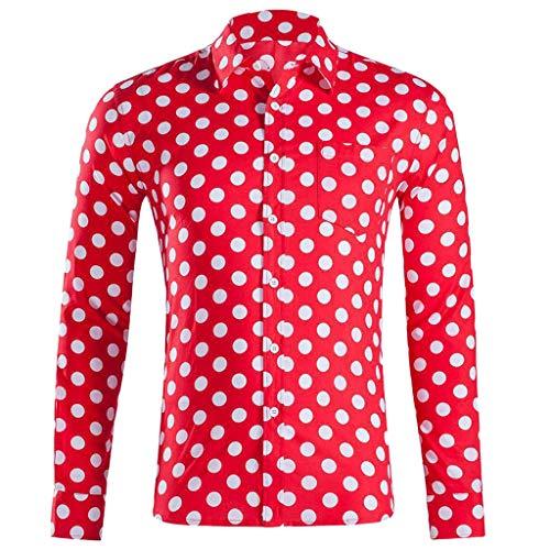 LHWY Camisa de Hombre Tops Shirt 2019 Verano Moda botón Holgado de Manga Larga con Cuello Redondo y Estampado Hawaiano Camiseta Corta Camiseta Gran tamaño Lunares Beach Hawaii