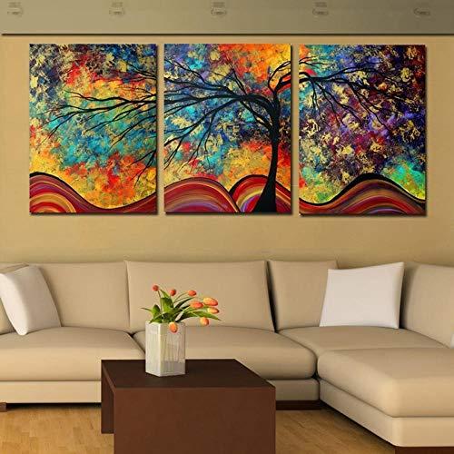 LLXXD Minimalismo tríptico Abstracto árbol Grande Paisaje Colorido Pinturas de inyección de Tinta por números póster Lienzo Pintura Arte de pared-50x70cmx3 (sin Marco)