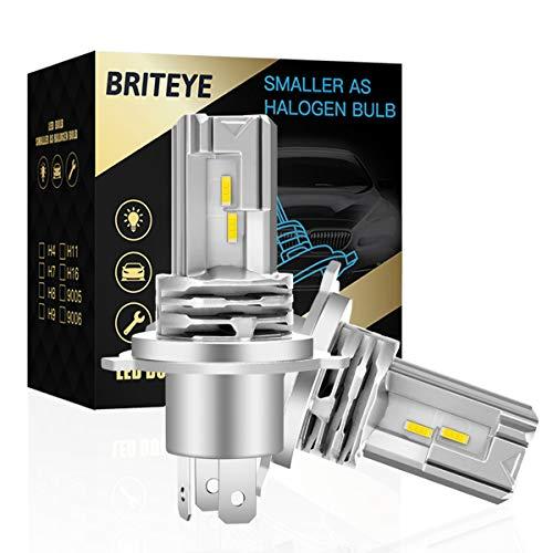Briteye(まぶしい) 車 バイク LED ヘッドライト H4 車検対応 一体型 H4 LEDバルブ HI LO切替 6500K ホワイトCREEチップ搭載 ファンレス (2個入)