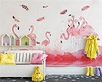 カスタム壁紙モダンな手描きピンクフラミンゴフェザー子供部屋の背景リビングルーム壁画3d壁紙* 400cmx280cm3D非織りプレミアムアートプリントフリース壁壁画装飾P