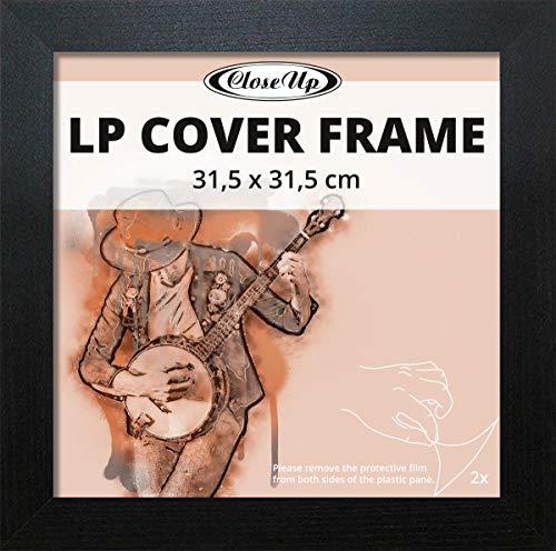 Close Up LP Album Cover Schallplatten Rahmen - 31,5 x 31,5 cm, schwarz, aus MDF Holzwerkstoff/Flat Design