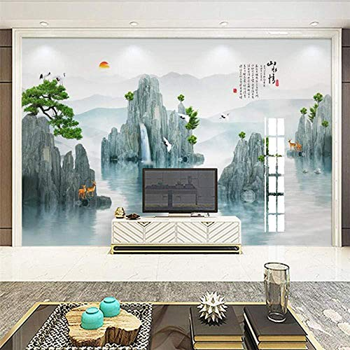 Fotobehang – creatieve muurschildering met grenen Pino Guest TV Muro Grote, groene wandafbeelding_200cm(w) x100cm(h)(6'5