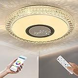 OTREN Lampada da Soffitto a LED RGB con Altoparlante Bluetooth, Ø40cm Plafoniere LED con Telecomando e Controllo APP, Dimmerabile Lampadario per Soggiorno Camera da Letto