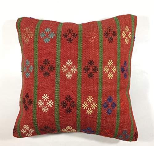 Kelim Kissen 40x40 cm Kissenbezug Orientalisch Handgefertigt Teppiche Kilim Kissenhülle aus Wolle Oushak Uschak Türkisch Handarbeit code 143