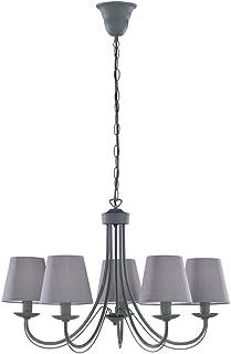 TRIO, Lustre, Cortez 5xE14, max.28,0 W Tissu, Couleur beton, Corps: metal, Couleur beton Ø:66,0cm, H:150,0cm IP20