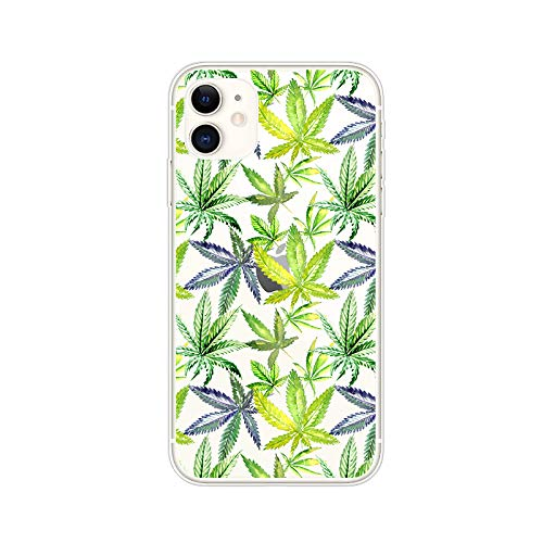 iPhone 11 (6.1 inch) Case,Blingy's Plants Style Transparent Clear Soft TPU Protective Case Compatible for iPhone 11 6.1' 2019 Release (Hemp Design)