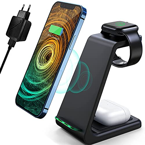 mobi mountain Caricatore Wireless, 3 in 1 Ricarica Wireless Supporto di Caricabatterie Senza Fili Docking per Apple Watch 6/5/4/3/2/1, per iPhone 13/12 Pro Max/SE 2020/11 Pro/XS/XR/X e AirPods Pro/2