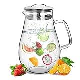 Suteas 2.0 Liter 70 Unzen Glas Krug karaffe mit Deckel Eistee Krug Wasserkrug Heißes Kaltes Wasser...