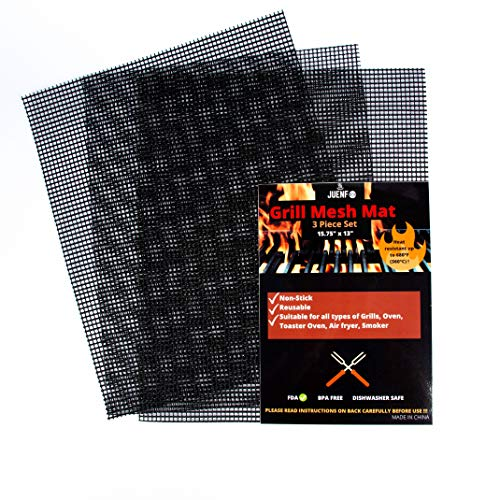 JUENFO Grill Mesh Mats for Outdoor Grill- 2020 Upgraded Reusable NonStick BBQ Grill Mesh Mat with Extreme Heat Resistance of 360°C/600°F for Long Use- Easy Clean 3 Pack Mesh Grill Mat for All Grills