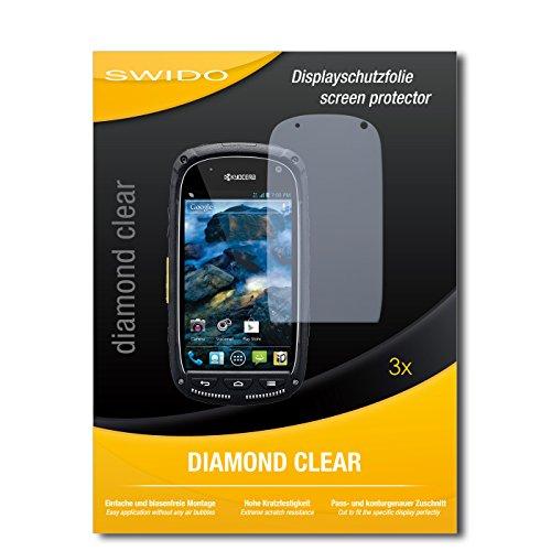 SWIDO 3 x Schutzfolie Kyocera Torque Bildschirmschutz Folie DiamondClear unsichtbar