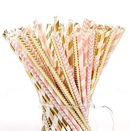 100 pajitas de papel biodegradables con rayas rosas/doradas, para fiestas, cumpleaños, bodas, Navidad, etc.