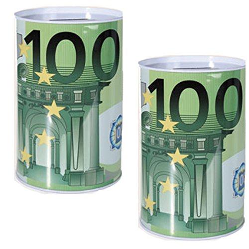 Bada Bing 2er Set XXL Spardose 100 Euro Geldschein Dose Geschenk Geburtstag 21