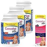 CONCEIVE PLUS Mens Fertility Bundle   3 Months Supply   Fertility Vitamin Supplement   3 x 60 Count and Fertility Lubricant 2.5 Ounce
