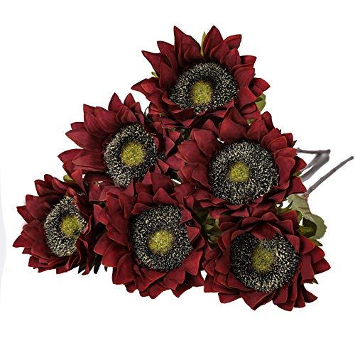 Tifuly 6 girasoles artificiales retro de 17.3 pulgadas, un solo tallo de girasol de seda realista para boda, fiesta, hogar, oficina, centros de mesa, decoración (rojo)