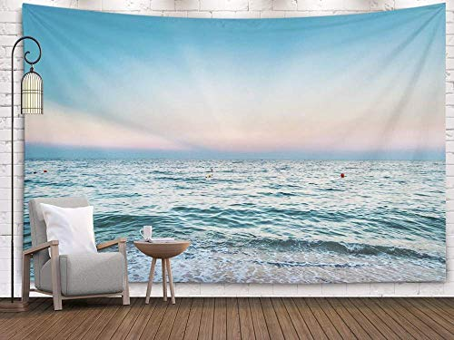 N\A Wall Tapestry, Wall Tapestry, Home Art of Cotton for D & Eacute; Cor Living Room Dorm of Sunrise at Seashore y Heavy Sea Sun Sun Rays