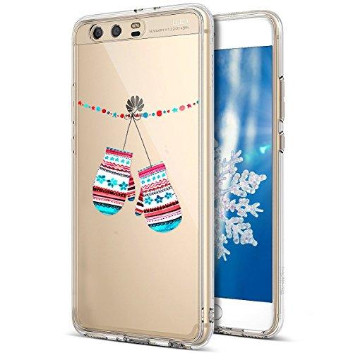 Kompatibel mit Huawei P10 Hülle Schutzhülle Silikon Transparent mit Weihnachten Schneeflocke Hirsch Muster Handyhülle Durchsichtige Backcover TPU Case Tasche Etui Bumper,Handschuhe