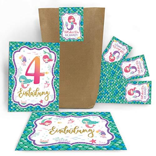 Junaversum 12 Einladungskarten zum 4. Kindergeburtstag Mädchen Meerjungfrau Einladungen vierte Geburtstag incl. 12 Umschläge, 12 Tüten / Natur, 12 Aufkleber