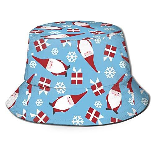 zhouyongz Bedruckte Weihnachtsmütze, Fischerhut, Polyester, lässige Reise-Kopfbedeckung, Sonnenhut, Fischerhut