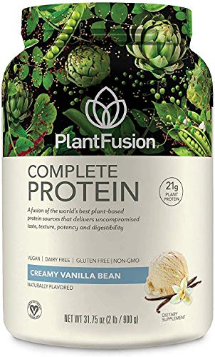 PlantFusion Complete Plant Based Pea Protein Powder, Non-GMO, Vegan, Dairy Free, Gluten Free, Soy Free, Allergy Free w/Digestive Enzymes, Dietary Supplement, Vanilla Bean (30 Servings) 2 Pound