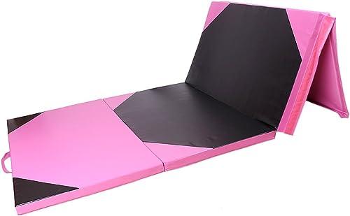 2021 Mallofusa lowest 4'x10'x2 Thick sale Folding Panel Gymnastics Mat Gym Fitness Exercise Yoga Tumbling Mats Pink/Black outlet sale