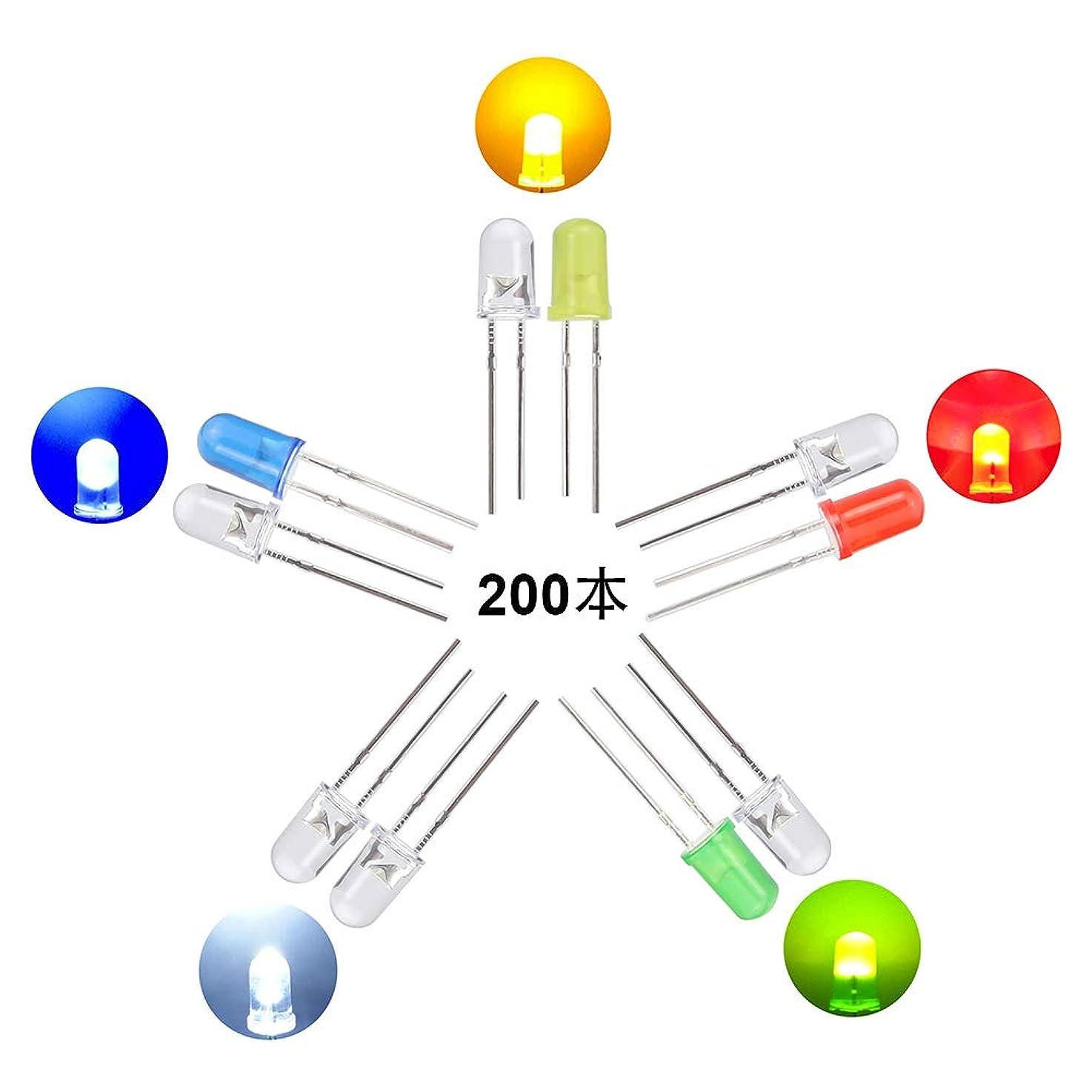 ジュニア繁栄するフリッパーWayinTop 発光ダイオード 5mm 砲弾型 LED セット 5色 超高輝度 白/黄/緑/赤/青 40個ずつ 合計200個入り