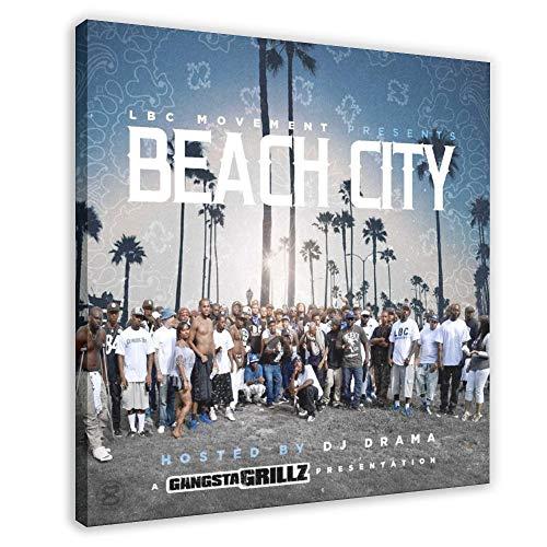 Copertina per album Snoop Dogg's – LBC Movement Presenta Beach City Canvas Poster Arredamento per camera da letto Sport Paesaggio Ufficio Decor Regalo 60 × 60 cm) Frame-style1
