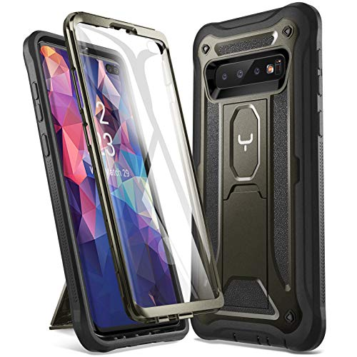 YOUMAKER Kickstand Case for Galaxy S10 Plus, Built-in Screen Protector Work with Fingerprint ID Full Body Heavy Duty Shockproof Cover for Samsung Galaxy S10+ Plus 6.4 inch - Gun Metal