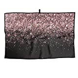 JJCSTE.C Microfiber Golf Towel Rose Gold Falling Particles Sports Gym Towel for Golf, Yoga, Sport, Running, Gym, Workout More Activities