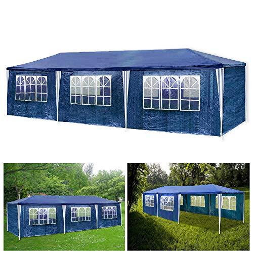 wolketon Pavillon Wasserdicht Gartenpavillon mit Seitenwände Polyethylen Bierzelt Tür mit Reisverschluss für Garten Party Hochzeit (3x9M, Blau)