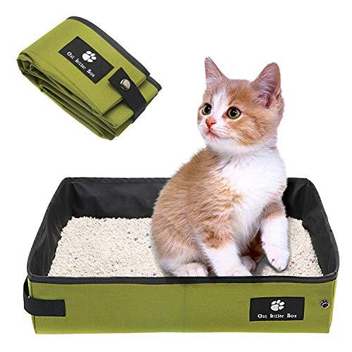SEHOO折り畳み可能 猫のトイレ 大型 携帯便利 ポータブルトイレ ペット用品 車載にも適用 撥 水 収納可能 消臭 (L, グリーン)