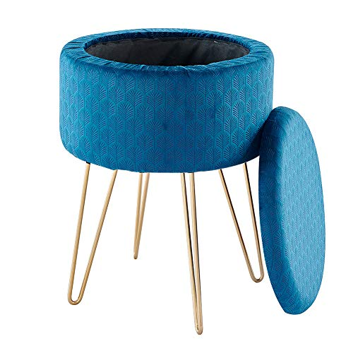 Mxfurhawa Thicken Modern Round Velvet Footrest Stool Ottoman, Upholstered Vanity Pouffe Stool with Storage Function Seat/Tray Top Coffee Table Dressing Chair with Golden Metal Leg (Blue)