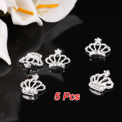 TOOGOO(R) 5Pcs Mode Art d'ongle 3d Forme de couronne strass Metal Decoration