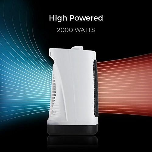 Pro Breeze Termoventilatore Ceramico 2000W - Tecnologia Ceramica a Basso Consumo Energetico - Oscillazione Automatica e 2 Impostazioni di Temperatura – Bianco