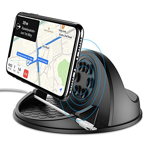 Wireless Car Charger Mount 10W Fast Charging Car Phone Holder with QC 3.0 Silicone Anti-Slip Desk Phone Stand Compatible with iPhone Samsung Android Smart Phones GPS Devices and More