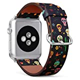 (Mexican Sugar Skull, Cactus and Flower on Wallpaper The Day of The Dead) Patterned Leather Wristband Strap for Apple Watch Series 4/3/2/1 gen,Replacement for iWatch 42mm / 44mm Bands
