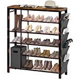 Rolanstar Shoe Rack, 6-Tier Entryway Shoe Storage Organizer, Free-Standing Shoe Rack Table with Non-woven Storage Bin and Side Bag, Holds 18-23 Pair of Shoes