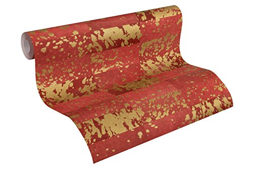 A.S. Création Vliestapete Saffiano Tapete Vintage Optik Ethno Look 10,05 m x 0,53 m metallic rot Made in Germany 340621 34062-1