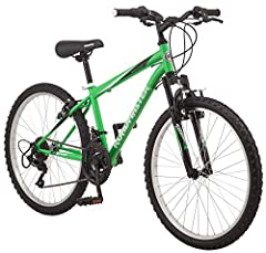Steel mountain-style frame and front suspension fork for a durable ride 18-speed twist shifters for a wide gear range and smooth shifting Front and rear linear pull brakes provide crisp, efficient stopping Light and strong alloy rims add durability w...
