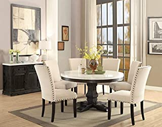 ACME Furniture Nolan Pedestal Dining Table, White Marble/Salvage Dark Oak