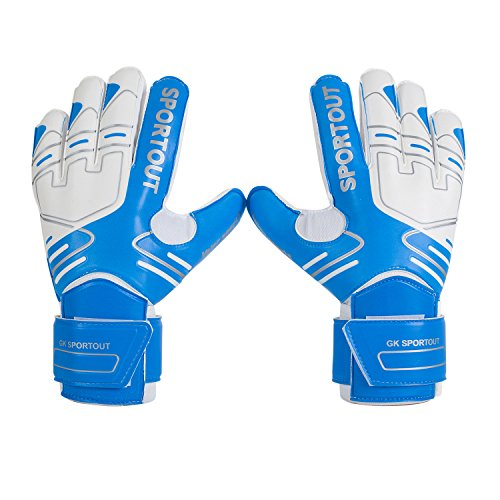 Jugendliche und Erwach, Kinder sener Torwarthandschuhe mit Fingersave, Rutschfes, Gewährung von Starken Schutz für Finger (8, Blue)