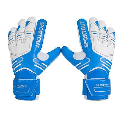 Sportout - Guantes de portero para jóvenes y adultos, con agarre fuerte para las paradas más duras, con refuerzos en los dedos para una mayor protección y para evitar lesiones, color azul, tamaño 7