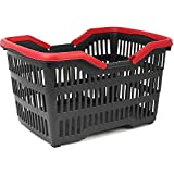 com-four® Shopping basket plastic with handle - Carrying basket for transport - Stable plastic basket in black/red - 39,5 x 29 x 22,5 cm (001 pieces - black/red)