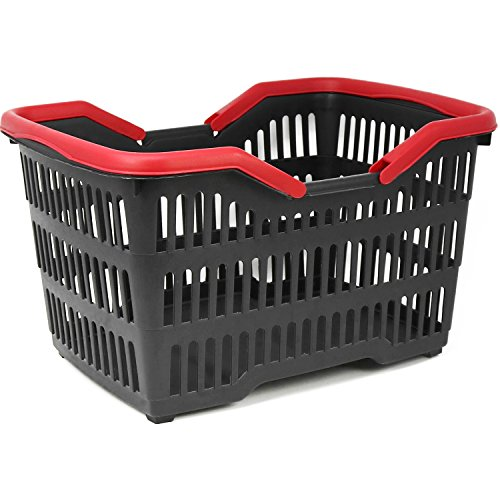 COM-FOUR® winkelmandje kunststof met handvat - draagmand voor transport - stabiele kunststof mand in zwart/rood - 39,5 x 29 x 22,5 cm (001 stuks - zwart/rood)