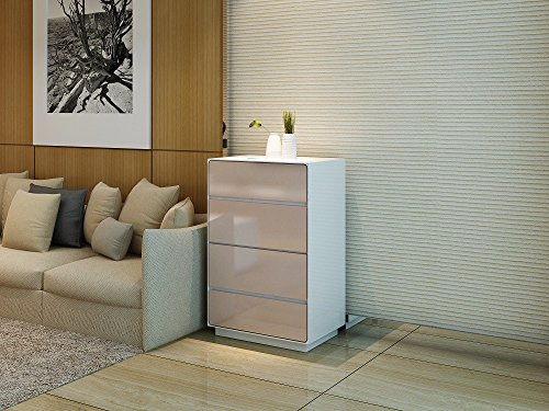 Mixibaby highboard sideboard dressoir commode in hoogglans wit met beige fronten met 4 laden