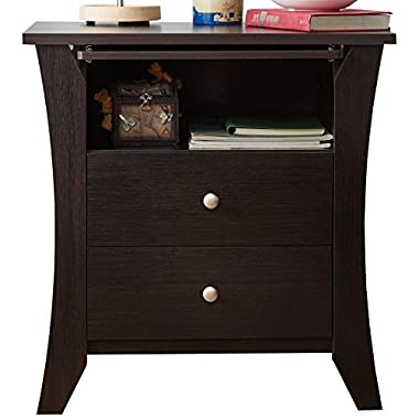 HOMES: Inside + Out ioHOMES Contemporary Kassio Nightstand, Espresso