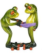 Decoratiefiguur grappig kikkerpaar, lichtgroen, 14 cm