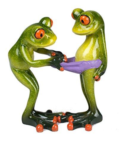 Dekofigur lustiges Froschpaar, hellgrün, 14 cm